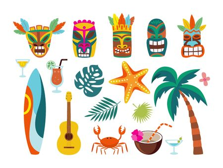 Set of Hawaiian traditional symbols - masks and surfboards, flat cartoon vector illustration isolated on white background. Polynesian tropical islands exotic icons.