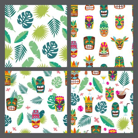 Set of seamless patterns with Luau Tiki mask and tropical leaves, flat cartoon vector illustration. Endless Background texture on Hawaiian summer exotic vacation topic.