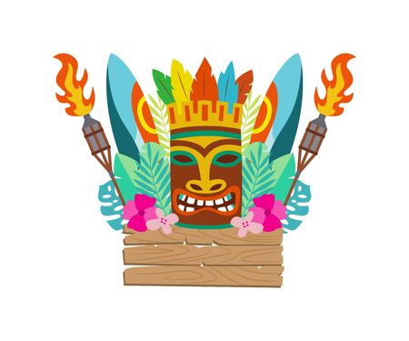 Luau Tiki polynesian wooden mask, surfboard and other items for Hawaiian holiday celebration, flat cartoon vector illustration isolated on white background. 向量圖像