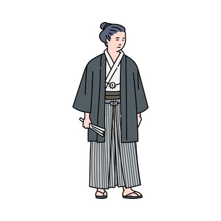 Cartoon Japanese man in traditional costume standing isolated on white background. Ancient Japan warrior or monk in kimono style clothes - flat vector illustration