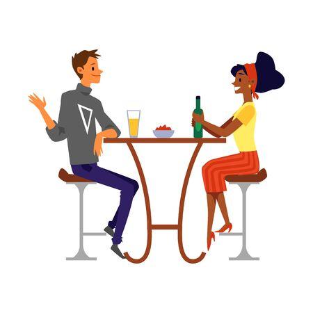 Hombre y mujer, amigos o personajes de dibujos animados de pareja amorosa en pub o bar bebiendo cerveza juntos y hablando, ilustración vectorial plana aislada sobre fondo blanco.