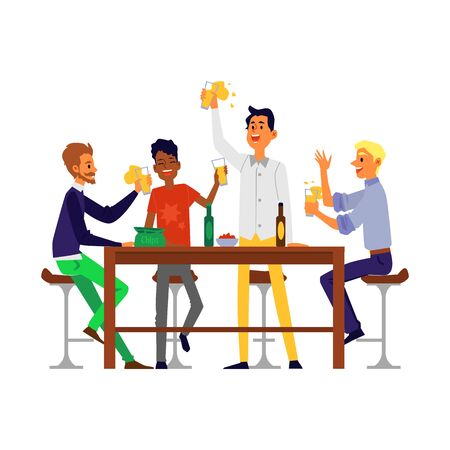 Male friends drinking beer - cartoon men sitting behind bar table holding beer glasses cheering for a toast. Isolated flat vector illustration on white background Illusztráció
