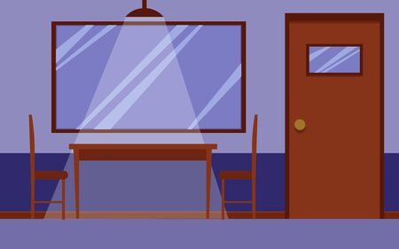 Flat interior of police station interrogation room with wooden desk and chairs for questioning and one way mirror window on the wall and nobody inside. Cartoon vector illustration.