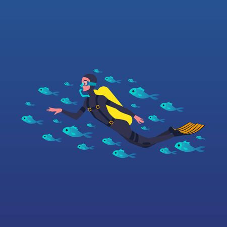 Cartoon man scuba diving with school of fish isolated on dark blue background - young diver in mask with oxygen tank swimming underwater. Flat vector illustration Ilustracja