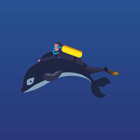 Cartoon man scuba diving while holding dolphin fin isolated on blue background - diver in uniform swimming underwater with sea animal. Flat vector illustration Ilustracja