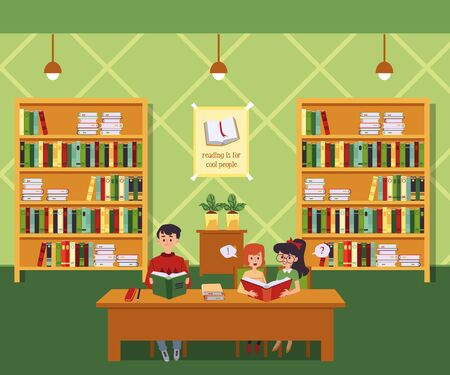 Group of children sitting at table in library and reading books on interior with bookshelves background flat cartoon illustration. Kids development and education.