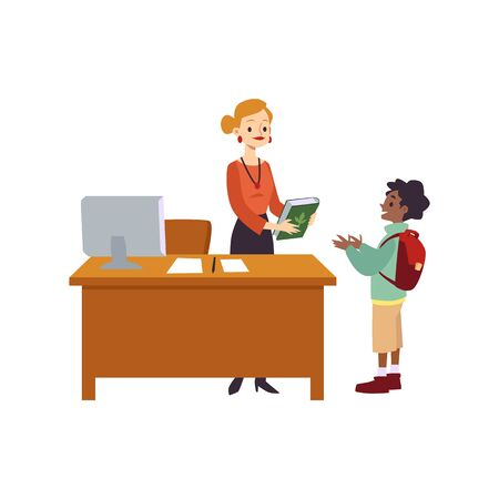 Cartoon librarian giving book to child - little boy checking out a textbook from library at reception desk. School education scenario - flat isolated vector illustration