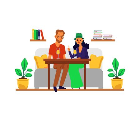 Friends or loving couple, man and woman characters sitting at table and having conversation in cafe or cafeteria, flat vector illustration isolated on white background.