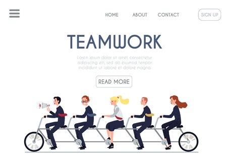 Teamwork website banner - cartoon business people riding joined tandem bike together. Manager leading corporate team in bicycle - isolated flat vector illustration
