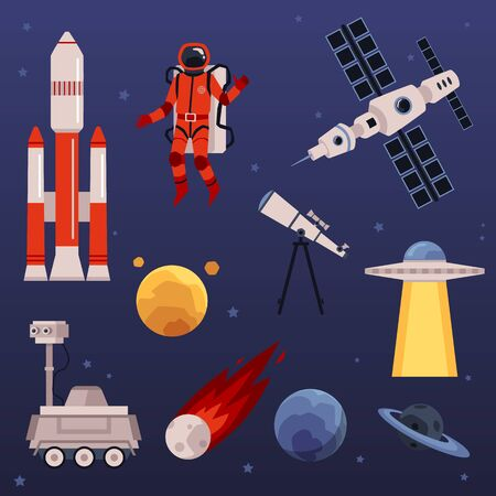 Space icons and symbols set including astronaut and spaceship, cartoon vector illustration isolated on blue background. Fantasy space traveling and science collection.
