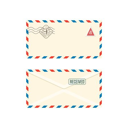 Paper postage envelope with stamps realistic vector illustration isolated on white background. Set of post stamped letters or correspondence post messages mockups. Foto de archivo - 137960822
