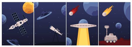 Set of cards or posters on space travel and astronomy topic with spaceship and rocket, vector illustration. Fantasy backgrounds collection with planets and stars. Çizim