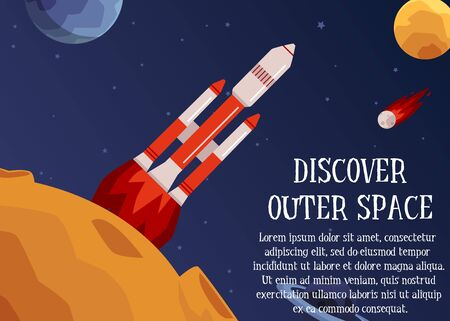 Discover outer space - header and rocket starting and launching to stars and planets, flat cartoon vector illustration. Cosmic banner or poster design template.