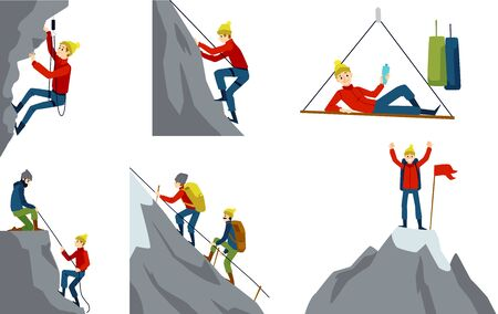 Set with climber or alpinist character in various activity, flat cartoon vector illustration isolated on white background. Mountaineering and traveling collection. Ilustração