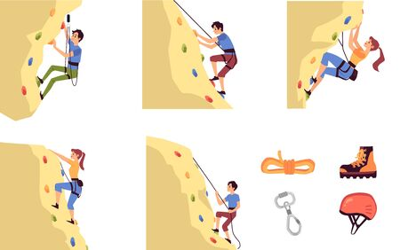 Set of climbing on mountain men cartoon characters and alpinism equipment, flat cartoon vector illustration isolated on white background. Mountaineering and adventure.