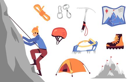 Mountaineering and climbing equipment and character set, flat cartoon vector illustration isolated on white background. Adventure and extreme tourism collection.