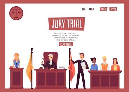 Bannière de séance de procès devant jury avec des personnages de dessins animés - avocats et témoins, illustration vectorielle plane isolée sur fond blanc. Représentation juridique en justice.