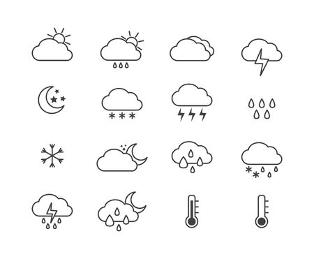 Weather icon set for sunny, rainy and snowy day and night isolated on white background. Line art of storm or rain forecast - flat vector illustration.