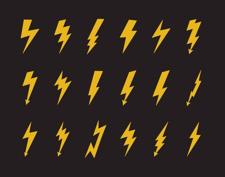 Yellow electric lightning bolt icon set isolated on black background - electricity power symbol collection of thunderbolt and arrow shapes. Flat vector illustration.