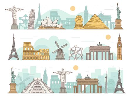 Famous international travel landmark banner set with global tourist attraction buildings and statues. Cityscape panorama poster - flat vector illustration