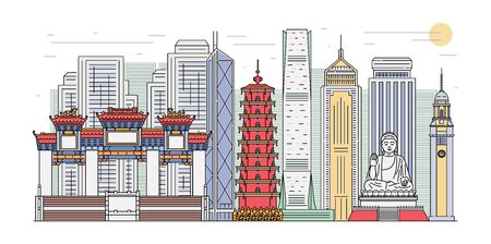 Hong Kong landmark cityscape banner isolated on white background - famous building panorama for tourism poster. Flat vector illustration of Oriental architecture.
