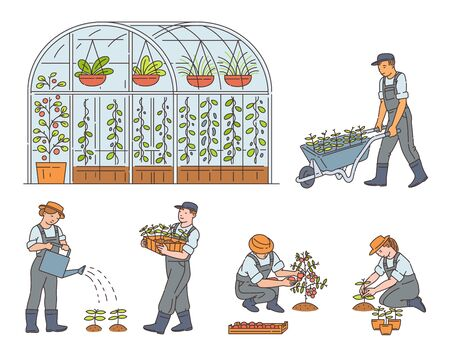 Farmers, men and women cartoon characters growing ecologically clean food, set of vector sketch illustrations isolated on white background. Greenhouse and organic food. Vector Illustration