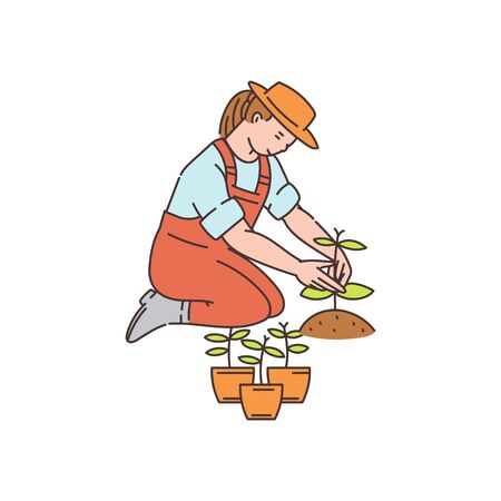 Farmer woman planting plants from pots to ground - cartoon character, vector illustration in sketch style isolated on white background. Gardening and agriculture.