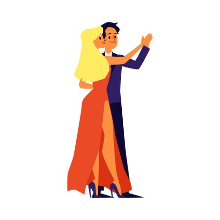 Dancing loving couple of man and woman cartoon characters flat vector illustration isolated on white background. People dating, falling in love and having fun together. Ilustrace