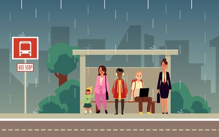 Cartoon people standing at city bus stop on rainy weather. Men and women waiting for public transportation under rain shelter - flat vector illustration.