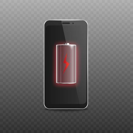 Mockup of cell phone black shiny screen with low energy accumulator sign, realistic vector illustration isolated on transparent background. Discharged smartphone battery. Çizim