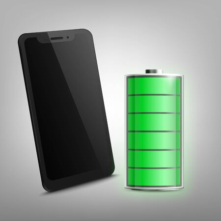 Full charged battery and cell phone black shining screen, realistic vector illustration isolated on background. Electric energy charger and smartphone template. Çizim
