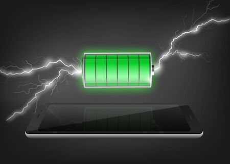 Filled with electric power or full of energy battery symbol with lightnings and smartphone surface - banner, realistic vector illustration on black background.