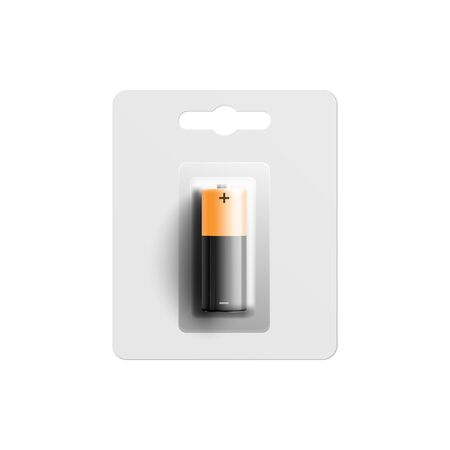 Mockup of single square black battery in white plastic pack 3d realistic vector illustration isolated on white background. Packaging template for brand identity.