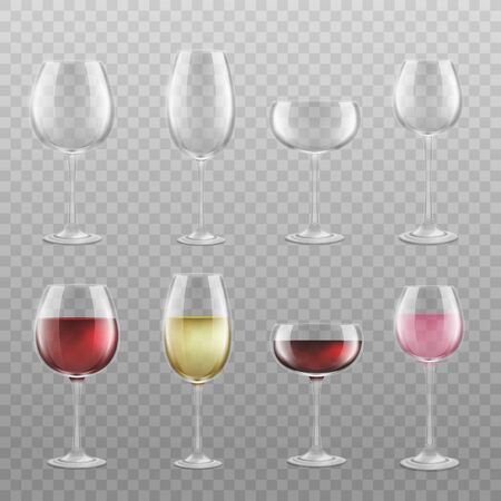 Different wine glass types set with and without drink isolated on transparent background. Realistic clear glasses empty or filled with red, white and rose wine, vector illustration