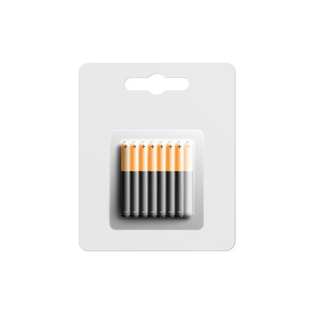 Package of thin black and gold Alkaline batteries, realistic mockup vector illustration isolated on white background. Electric accumulators pack template.