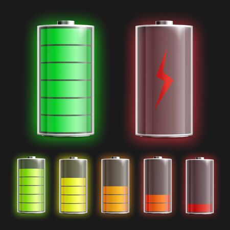 Batteries mockups set with various power level indicators, realistic vector illustration isolated on background. Charge energy of accumulator indication template.