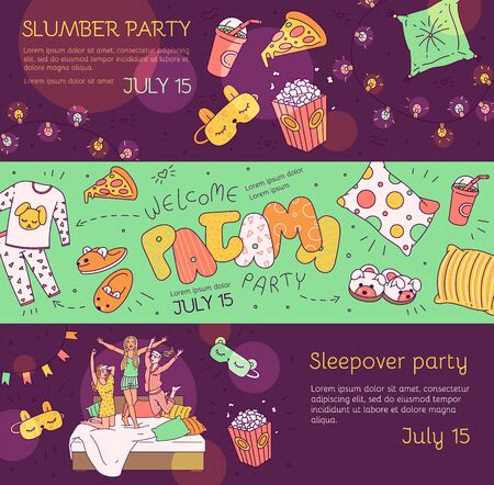 Slumber pajama party banner set - cartoon girls and cute objects on friend group sleepover invitation text template. Flat vector illustration. Vector Illustration