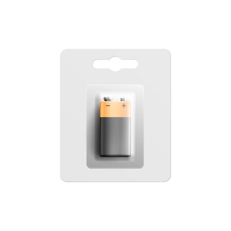 Square black and gold battery in plastic pack mockup, realistic vector illustration isolated on white background. Template of electric charger or accumulator. Çizim