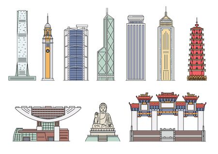 Landmark Hong Kong building icon set isolated on white background - colorful travel destination and tourist attraction sites. Flat vector illustration.