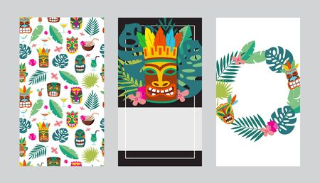 Colorful cards or invitations templates set for Tiki bars or Hawaiian party cartoon vector illustration isolated on background. Summer tropical flyers elements design.