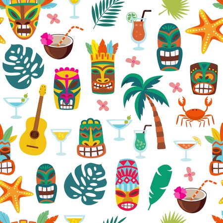 Colorful tiki mask and Hawaii vacation symbol seamless pattern - cartoon background of exotic palm tree leaves, cocktails and totems. Flat isolated vector illustration.