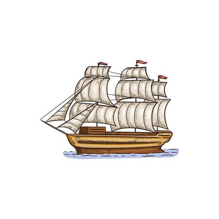 Vintage sail ship with while sails - isolated drawing on white background. Hand drawn sea boat floating in water - flat vector illustration.
