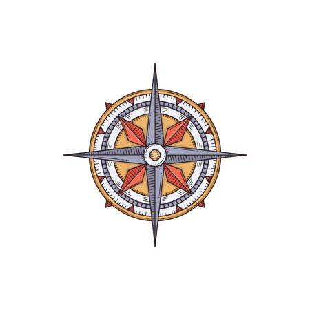 Vintage engraved nautical compass cartoon sketch vector illustration isolated on white background. Sea ship or marine boat equipment and navigation ancient device.