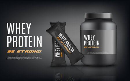 Plantilla de banner de publicidad de proteína de suero con frasco de contenedor de nutrición deportiva negra y paquetes de barras de bocadillos, ilustración vectorial realista sobre fondo negro.