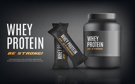 Whey protein advertising banner template with black sportive nutrition container jar and snack bars packages, realistic vector illustration on black background.