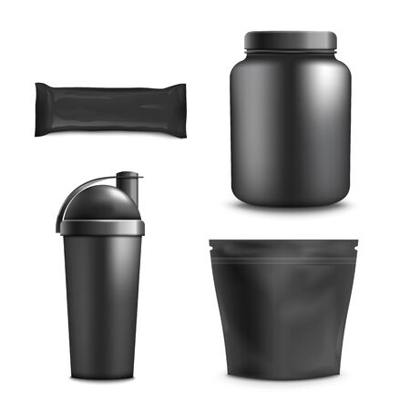 Set of sport nutrition container templates, realistic vector illustration isolated on white background. Black plastic jar, foil big and small packages and drink bottle. Çizim