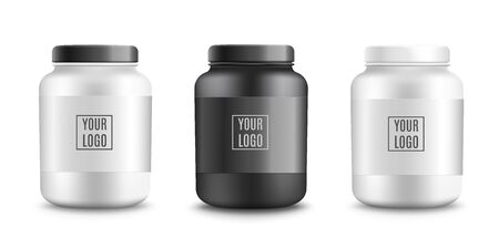 Protein powder plastic packaging mockups set, realistic vector illustration isolated on white background. Black and white sportive nutrition containers template.