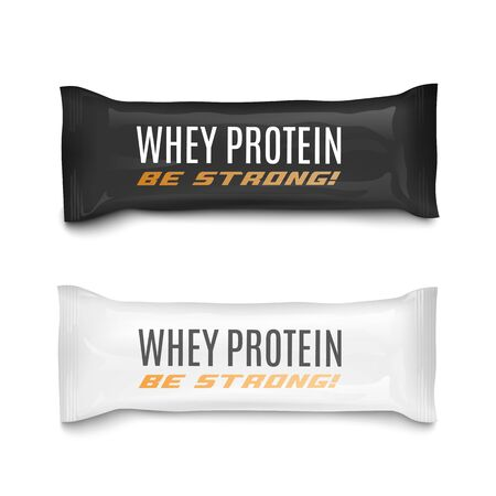 Whey protein nutrition energy bars set in black and white plastic packaging, realistic vector illustration isolated on white background. Bodybuilding food replacement. Çizim
