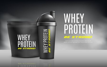 Whey protein banner template realistic vector illustration. Foil package and drink bottle for sport nutrition supplement in mockup of advertising background.