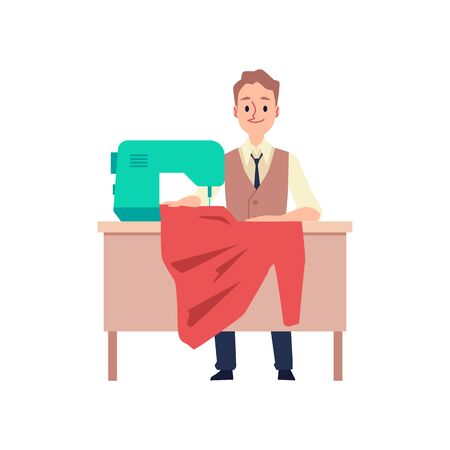 Tailor man sitting behind table with sewing machine holding red cloth fabric isolated on white background. Fashion designer working on garment - flat vector illustration